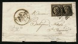 France N° 3 Paire S/Lettre Grille + Càd Type 13 - Signé - Cote 1150 Euros - 1849-1850 Cérès