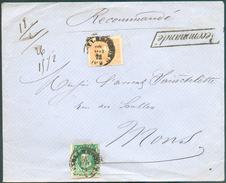 N°30-33 Obl. Dc BRUXELLES (LUX.) Sur Enveloppe Recommandée Du 20 Mai 1873 Vers Mons (Station) En Double Port- 11893 - 1869-1883 Léopold II