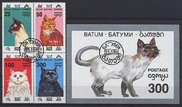 BATUM 1994, CHATS / CATS, 4 Valeurs Et 1 Bloc, Oblitérés / Used. R458 - Vignettes De Fantaisie