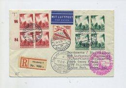 1936 ZEPPELIN BESONDERHEIT LZ 129 8. NORDAMERIKAFAHRT R-BRIEF ZULEITUNG REICHSPARTEITAG NÜRNBERG SI 437 B