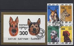 BATUM 1994, CHIENS / DOGS, 4 Valeurs Et 1 Bloc, Oblitérés / Used. R460 - Vignettes De Fantaisie