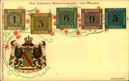 Postkarte Mit Der Abbildung Der Ersten Briefmarken Badens. Sauber Ungebraucht. - Baden