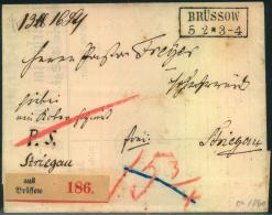 BRÜSSOW, Paketbegleitbrief Nach Striegau. - Preussen