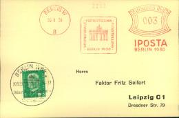 1930, IPOSTA, Sammlerkarte Mit Freistempel Und Handstempel. - Allemagne