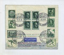 1937 3.Reich Zeppelin LZ127 Südamerikafahrt Schön Frankierter Bordpostbrief Mit Bl. 7, 606, 607 Rückfahrt Sieger 382D