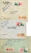 1954 CHINE CINQ LETTRES RECOMMANDEES DE SHANGHAI POUR LA FRANCE