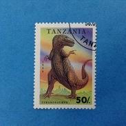 1994 TANZANIA FRANCOBOLLO USATO STAMP USED - ANIMALI PREISTORICI 50