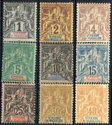 Sain Pierre Et Miquelon 1892 Nove Valori Della Serie N. 59-71 MH (n. 63 Usato) Cat. € 85 - St.Pierre & Miquelon