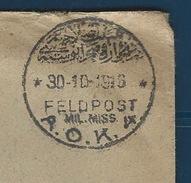 RZ--095-. RARE  LETTRE OBL. FELDPOST A.O.K 4, Du 30/10/1916 - PALESTINE -  TTB