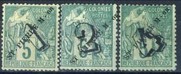 Saint Pierre Et Miquelon 1892 Serie N. 48-50 Sovrastampe Su C. 5 Verde MH Cat € 55 - St.Pierre & Miquelon