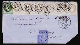 France N° 25 + 27 (6) S/Lettre Obl. 23-Janv.72 Signé Calves - Cote 4750 Euros - TB Qualité - 1863-1870 Napoleon III With Laurels