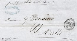 "VM221 - VIA DI MARE - Lettera Da MARSEILLE A Malta Del 1849  "" Par Le Paquebot De La Mediterranée""  Leggi - 1849-1850 Cérès"