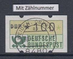 Deutschland NAGLER-ATM Posthorn, Gummi Gelb Mi.-Nr. 1.2hu Wert 100 Mit Voll-O ZN