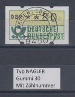 Deutschland NAGLER-ATM Posthorn Gummi WEISS Mi.-Nr. 1.2hv Wert 80 Mit Voll-O ZN