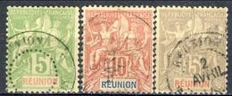 Reunion 1900-05 Tre Valori Della Serie N. 46-51 Usati Cat. € 12 - Used Stamps