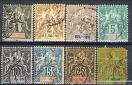 Reunion 1892 Otto Valori Della Serie 32-44 Usati Cat. € 30 - Used Stamps