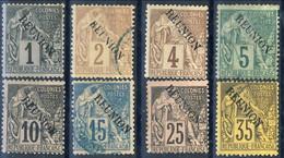 Reunion 1891 Otto Valori Della Serie N. 13-28 Misti MH-Usati Cat. € 150 - Unused Stamps