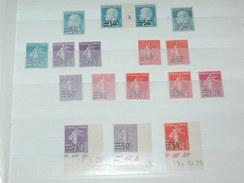 """LOT N°1 / 17 TIMBRES NEUFS SANS CHARNIERE """"   SEMEUSE ET PASTEUR SURCHARGES  """"  / TIMBRE 1900 A 1938 / COTE YT 62 EUROS"""