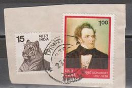 INDIA 1978 CL Aniversario Del Nacimiento Del Compositor Franz Schubert + Fauna FRAGMENTO USADO - USED.
