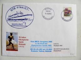 Cover Sent From Finland 2002 Helsinki Olympic Games 1952 Helsingfors Navire Gts Finnjet Silja Line Ship