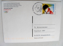 Stationery Card Sent From Switzerland 2002 Special Cancel Fdc Olympic Games Salt Lake City Ice Hockey Taxe Percue 2001