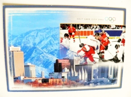 Stationery Card Sent From Switzerland 2002 Special Cancel Musee Olympique Olympic Games Salt Lake City Ice Hockey 2001