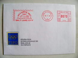 Cover From Switzerland 2002 Sport Special Red Atm Machine Cancel Olympex Olympic Games Salt Lake City Lausanne