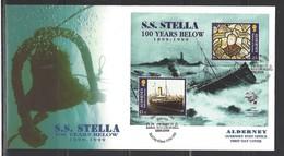ALDERNEY - FDC Mi-Nr. Block 5 - 100. Jahrestag Untergang Dampfer STELLA - Alderney