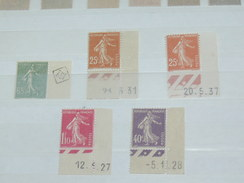 "LOT N°2 / 5 TIMBRES NEUFS SANS CHARNIERE ""   SEMEUSE COINS DATES   ""  / TIMBRE 1900 A 1938 / COTE YT  48 EUROS"