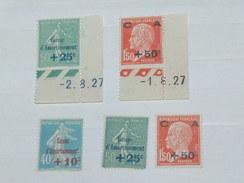 """LOT N°2 / 5 TIMBRES NEUFS SANS CHARNIERE """"   SEMEUSE ET PASTEUR SURCHARGES   """"  / TIMBRE 1900 A 1938 / COTE YT 125 EUROS"""