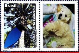 Ref. BR-3204-1 BRAZIL 2011 ANIMALS & FAUNA, BLUE JACKDAW,, BIRDS, DOG, PERSONALIZED MNH 1V Sc# 3204