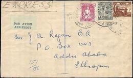 1951 IRELAND MULTI STAMP EXPRESS TO ETHIOPIA ( RECEIVING ADDIS ABA )