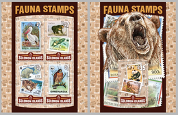 2016 Solomon Islands, Fauna, Stamp On Stamp, WWF, S/sheet+sheet, MNH