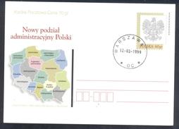 Poland Postal Staionery Card 1998: Fauna Eagle Adler Aigle Aquila;  Map Regions Of Poland - Adler & Greifvögel