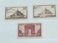 """LOT N°2 / 3 TIMBRES NEUFS SANS CHARNIERE """" MONT ST MICHEL / ARC DE TRIOMPHE  """"  / TIMBRE 1900 A 1938 / COTE YT 190 EUROS"""