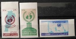 R2 - Lebanon 1961 UN 15th Anniv. SC# C306-8 Complete Set 3v. ALL IMPERF Superb MNH Cv 75$ - Lebanon