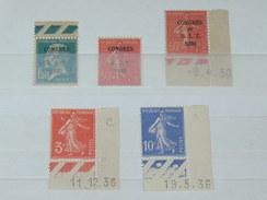 """LOT N°3 / 5 TIMBRES NEUFS SANS CHARNIERE """"  PASTEUR ET SEMEUSE SURCHARGE COINS""""   TIMBRE 1900 A 1938 / COTE YT 62 EUROS"""