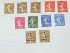 """LOT N°3 / 11 TIMBRES NEUFS SANS CHARNIERE """"  PASTEUR ET SEMEUSE SURCHARGE COINS""""   TIMBRE 1900 A 1938 / COTE YT 14 EUROS"""