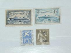 "LOT N°3 / 4 TIMBRES NEUFS SANS CHARNIERE ""  NORMANDIE ETC ...""   TIMBRE 1900 A 1938 / COTE YT 229 EUROS"