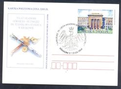 Poland Postal Staionery Card 1994: Fauna Eagle Adler Aigle Aquila; Architecture Krakow Academy; Rector Insignia - Adler & Greifvögel