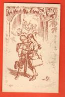 EAF-16  Illustrateur, Ecoliers Révisant Leur Leçon. Cachet 1927, Léger Collage Au Dos. - Escuelas
