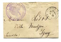 """!!! LETTRE EN FRANCHISE DE 1915, CACHET VIOLET HOPITAL DES SOEURS BLEUES, LOURDES"""" - Marcophilie (Lettres)"""