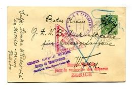 """!!! CARTE SERBE POUR LA CROIX ROUGE, CACHET """"CROIX ROUGE SERBE, SERVICE DE RENSEIGNEMENTS, GENEVE"""" - Postmark Collection (Covers)"""