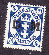 Danzig, Scott #O23, Mint No Gum, Arms Overpritned, Issued 1921 - Dantzig