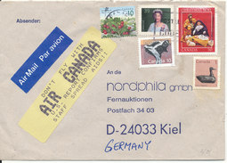 Canada Cover Sent Air Mail To Germany 1995 (read The Text On The Yellow Label)