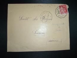 DEVANT LETTRE TP PAIX 50c OBL. CONVOYEUR 7-1-37 LAON A TERGNIER (02 AISNE) - Railway Post