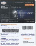 ARMENIA - EET Rent A Car, ArmenTel Prepaid Card 5000 AMD, Tirage 10100, Exp.date 30/10/06, Sample