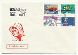 """SUISSE - 4 Enveloppes """"Escalade 1962"""" - Cachet Bureau De Poste Automobile 1962 - Suisse"""