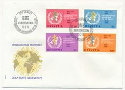 SUISSE - 2 Enveloppes FDC - Organisation Mondiale De La Santé - 1975 Et 1988 - Officials