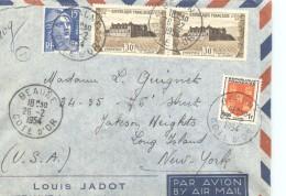 1954 Lettre Avion Pour Les USA  Vougeot 913 X2, Marianne 866, Blason 952 - France